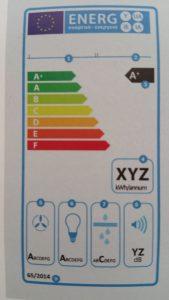 Etichetta energetica della cappa aspirante