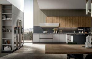 Cucina In laccato opaco e laminato legno